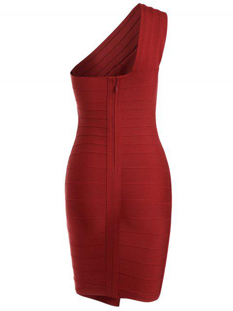 best One Shoulder Criss Cross Bodycon Bandage Dress - RED L Mobile