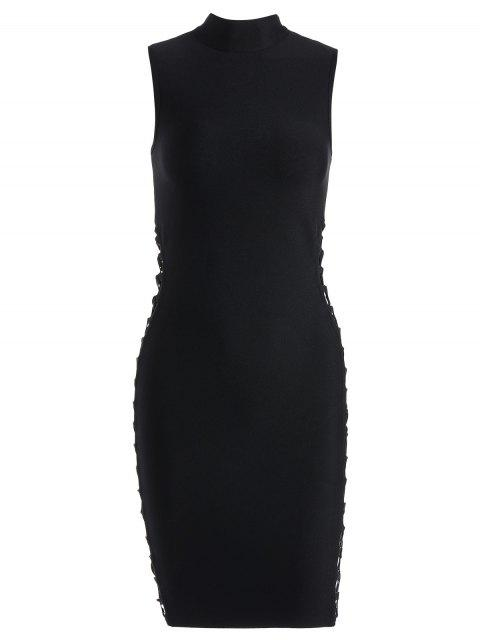 outfits High Neck Criss Cross Bandage Dress - BLACK M Mobile