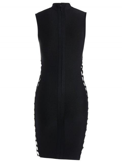shop High Neck Criss Cross Bandage Dress - BLACK L Mobile