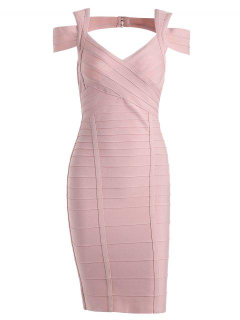 trendy Sweetheart Neck Cut Out Bandage Dress - PINK L Mobile
