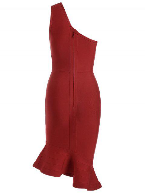 sale One Shoulder Plain Fitted Dress - RED L Mobile