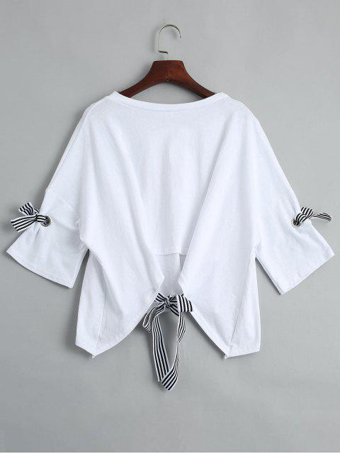 womens Drop Shoulder Letter Print Tee - WHITE ONE SIZE Mobile