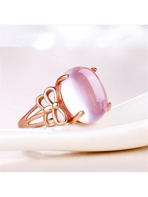 chic Faux Crystal Gem Dragonfly Oval Ring - ROSE GOLD  Mobile