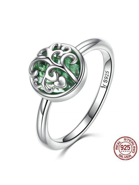 trendy Tree of Life Heart Sterling Silver Ring - SILVER 6 Mobile