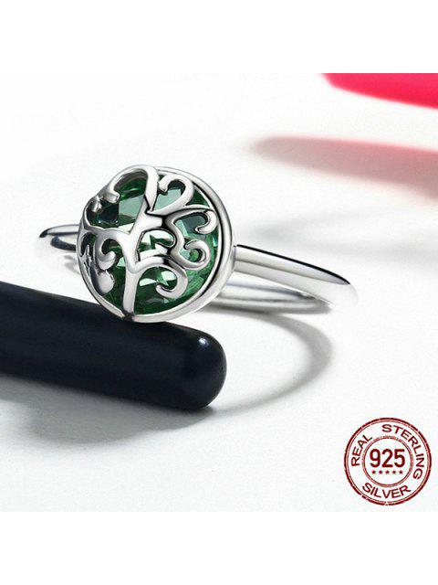 chic Tree of Life Heart Sterling Silver Ring - SILVER 8 Mobile