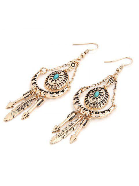 Faux Turquoise Arrow Boucles d'oreille en plumes - Or  Mobile