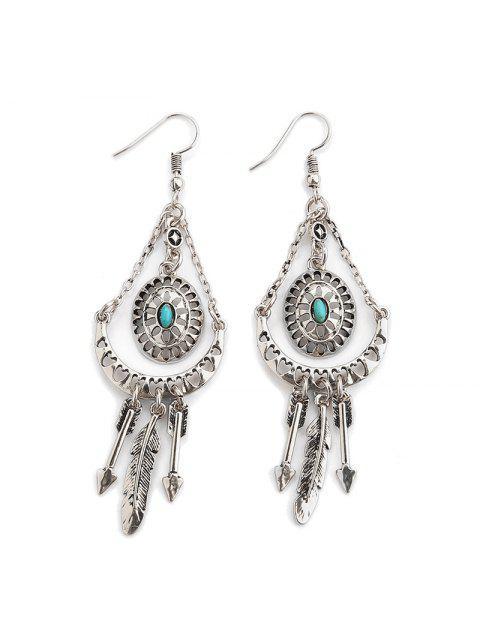 women's Faux Turquoise Arrow Feather Hook Earrings - SILVER  Mobile