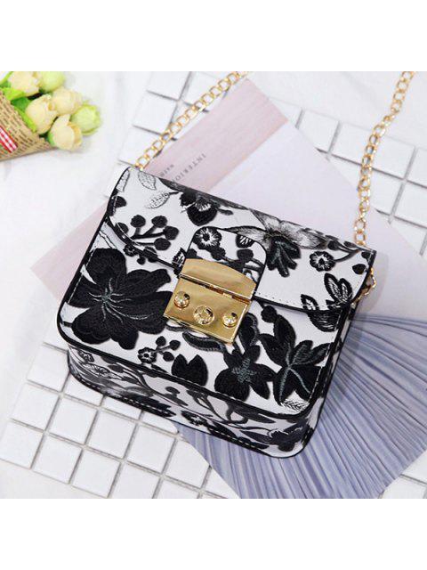 buy Floral Chain Mini Crossbody Bag - BLACK  Mobile