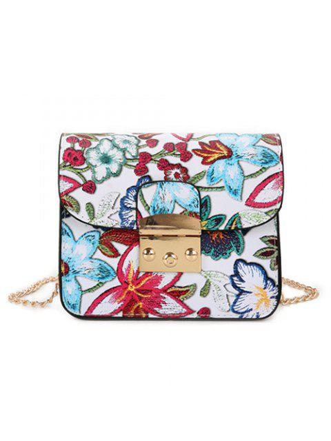 womens Floral Chain Mini Crossbody Bag - WHITE  Mobile