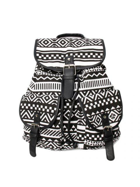 women's Buckles Ethnic Print Canvas Backpack -   Mobile