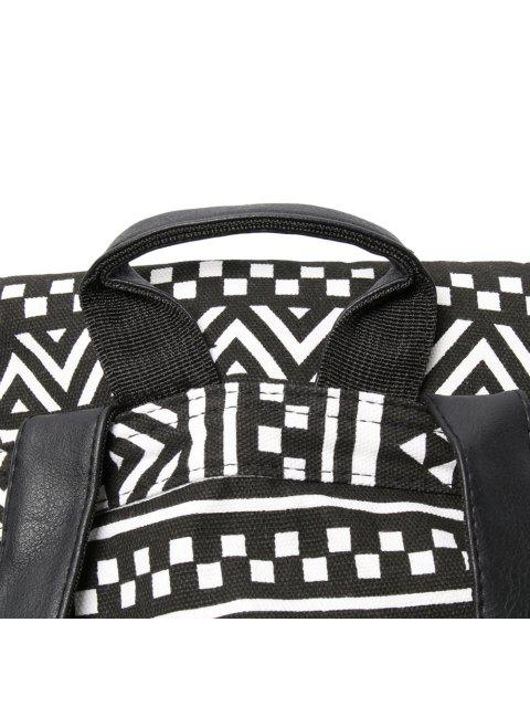 women's Buckles Ethnic Print Canvas Backpack - BLACK  Mobile