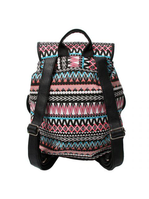 lady Buckles Ethnic Print Canvas Backpack - BLACK AND PINK  Mobile