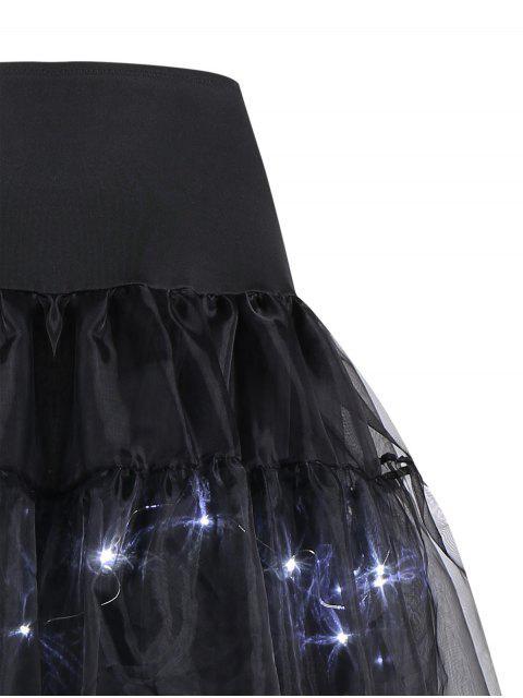 Flounce Light Up Cosplay Jupe - Noir Brillant XL Mobile