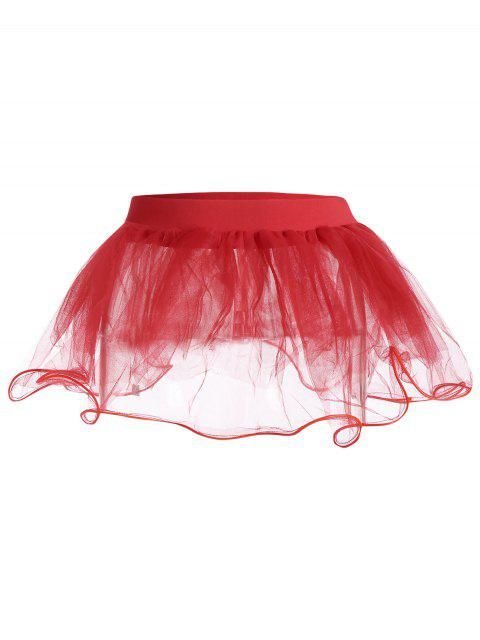 womens Mesh Ballet Light Up Cosplay Party Skirt - RED ONE SIZE Mobile