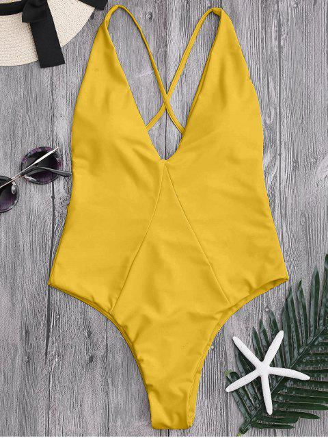 chic High Cut Cross Back Swimwear - GINGER XL Mobile