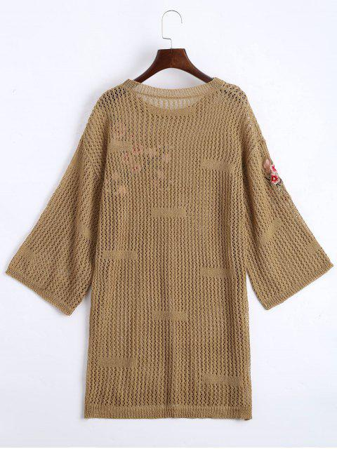 latest Sheer Floral Embroidered Sweater Dress - KHAKI ONE SIZE Mobile