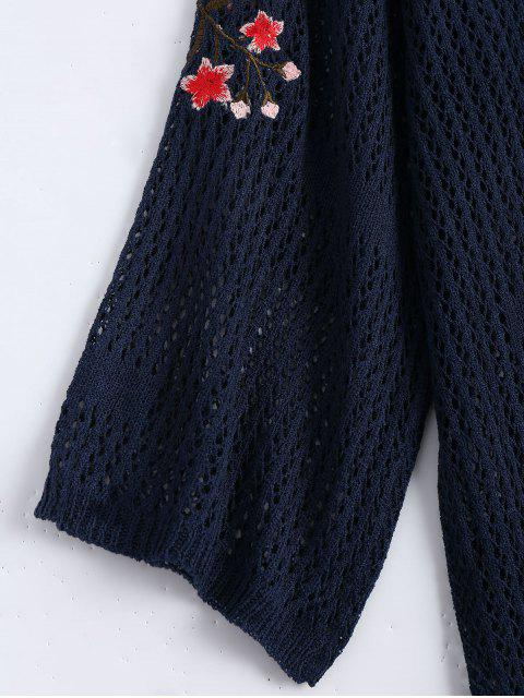 Robe en chandail brodé floral - Bleu Violet TAILLE MOYENNE Mobile