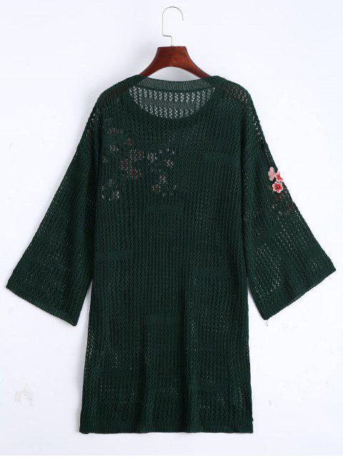 Robe en chandail brodé floral - Vert Foncé TAILLE MOYENNE Mobile