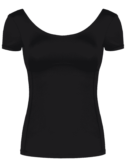 affordable Scoop Padded Sporty Top - BLACK L Mobile