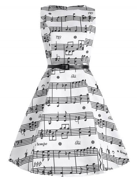 women's Plus Size Music Pattern 1950s Dress - WHITE 4XL Mobile