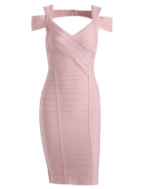 Cut Out Kleid mit Schatzausschnitt und Verband - Rosa M Mobile