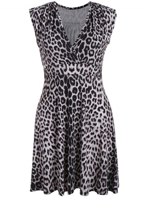 fashion Plus Size Leopard Print Surplice Dress - BLACK LEOPARD PRINT 3XL Mobile
