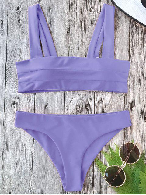 affordable Padded Wide Straps Bandeau Bikini Set - PURPLE L Mobile