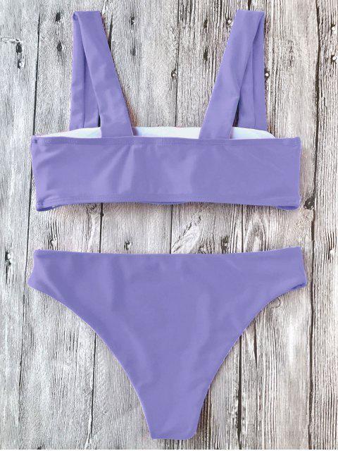 Bikini Bandeau en Ensemble Rembourré avec Larges Bretelles - Pourpre  S Mobile