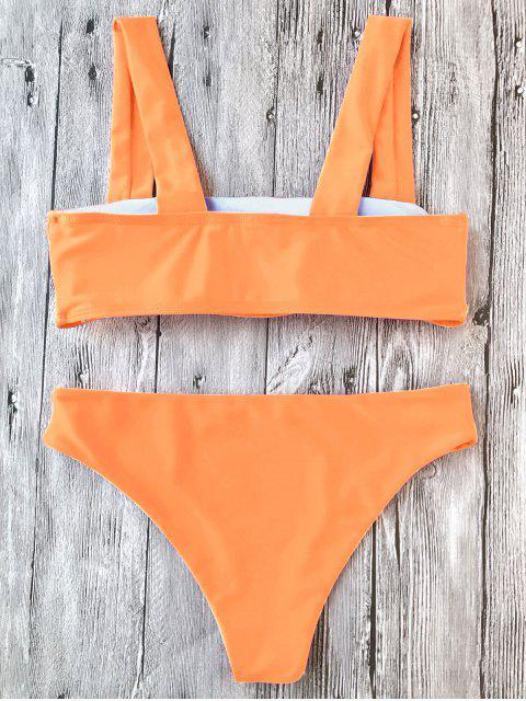 hot Padded Wide Straps Bandeau Neon Bikini Set - NEON ORANGE S Mobile