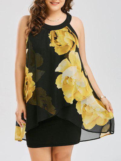 Vestido De Bainha De Capa Floral Com Tamanho Grande - Amarelo 2xl