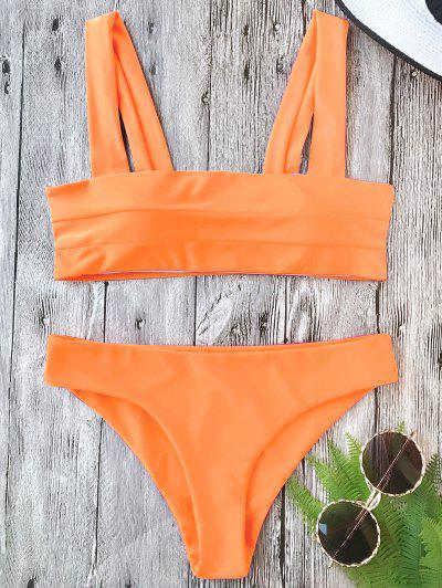 Padded Wide Straps Bandeau Bikini Set - Neon Orange M