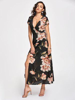 Vestido Maxi Envuelto Con Estampado Floral Con Escote Pico Largo - Negro S