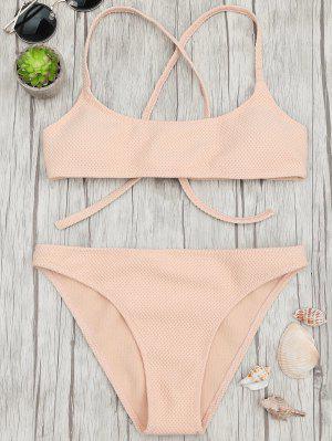 Ensemble De Bikini à La Brallette à Col Roulé Texturisé - Abricot M