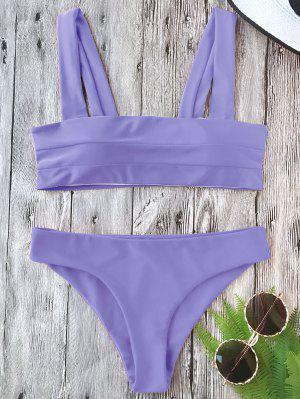 Conjunto Acolchado De Bikini Con Bandas Anchas - Púrpura M