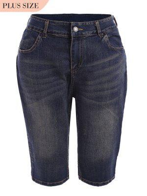 Plus Size Ripped Fifth Jeans - Denim Blue 5xl