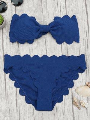 Ensemble De Bikini à Bandeaux Gratté Rembourrés - Bleu Foncé S