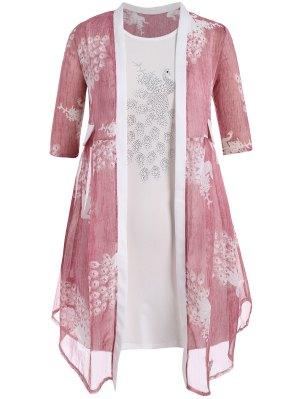 Bodycon Plus Size Vestido Con Peacock Kimono - Rosa 3xl