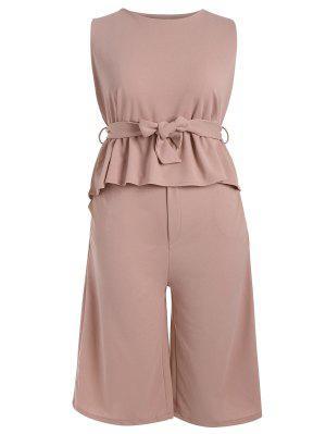 Plus Size Belted Ruffles Top With Capri Gaucho Pants - Papaya 5xl