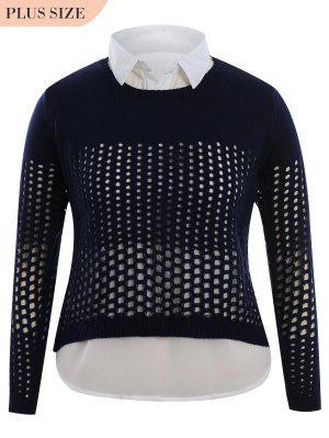 Más Tamaño Sheer High Low Knitwear - Azul Purpúreo 2xl