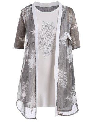 Bodycon Übergröße Kleid mit Pfau Kimono