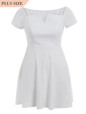 Una Línea Más El Tamaño Del Vestido Del Hombro - Blanco 5xl