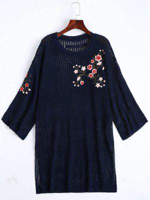 Sheer Floral Embroidered Sweater Dress - Purplish Blue