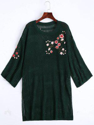Sheer Floral Embroidered Sweater Dress