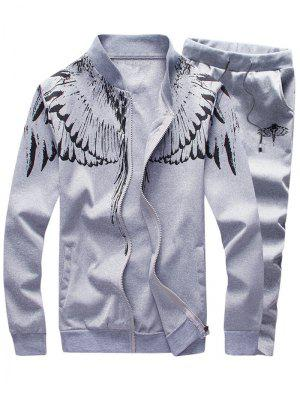 Stand Collar Wings Print Zip Up Jacket and Pants Twinset