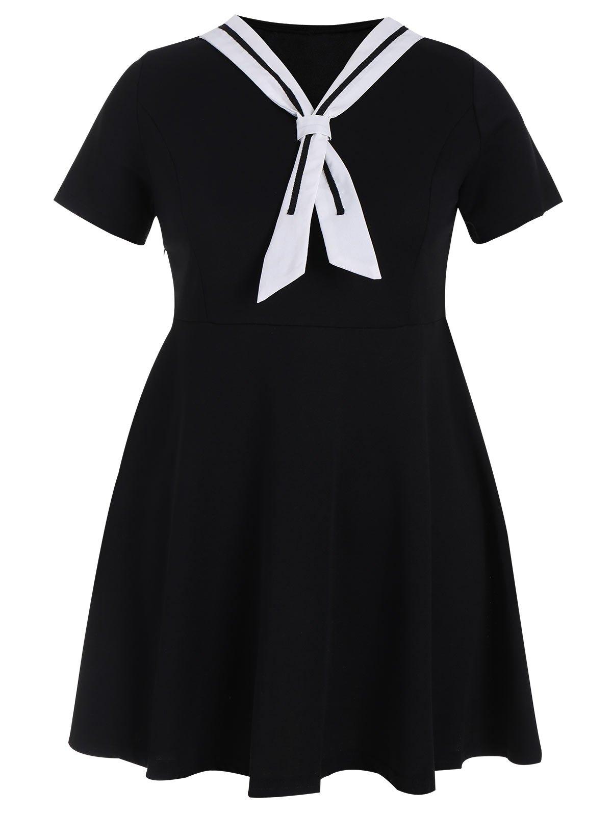 Plus Size Tied Skater Sailor Dress