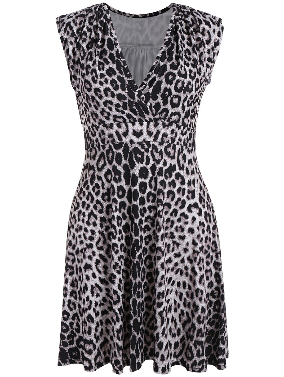 Leopard Print Surplice Plus Size Dress