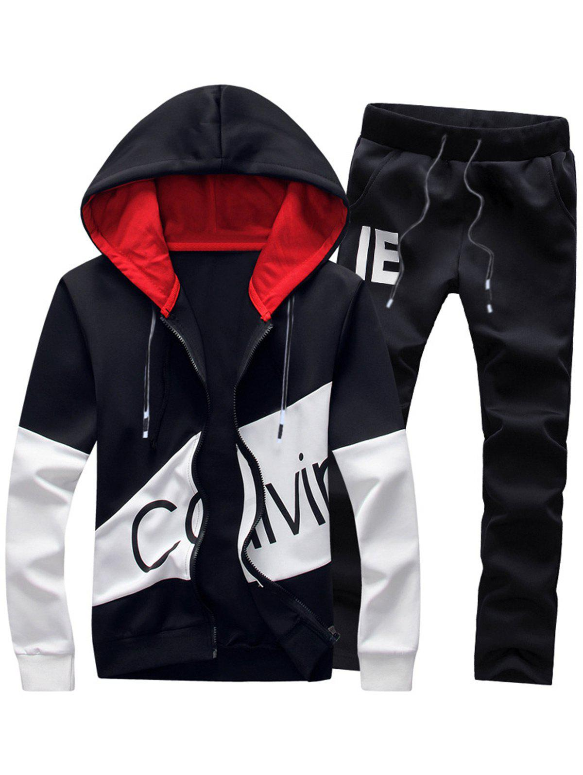 Graphic Print Color Block Panel Hoodie and Pants Twinset 219714506