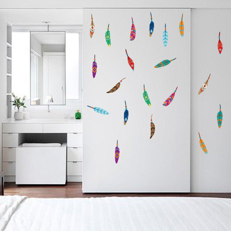 Colorful Feather Vinyl Wall Sticker For Kids 219665501