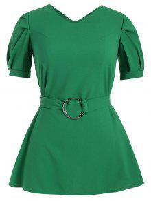 Puff Sleeve Plus Size Belted Dress - Green 5xl