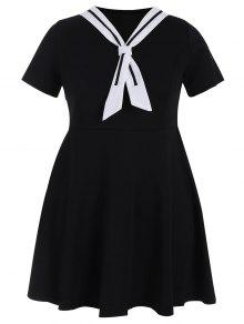 Plus Size Tied Skater Sailor Dress - Black 5xl